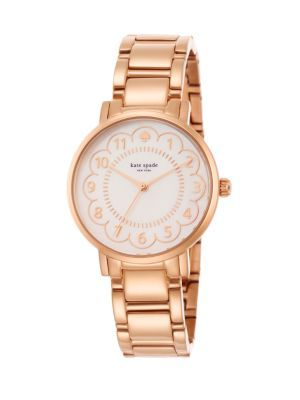 Rose gold Kate Spade New York - Gramercy Scalloped Mother-Of-Pearl & Stainless Steel Bracelet Watch - Saks.com