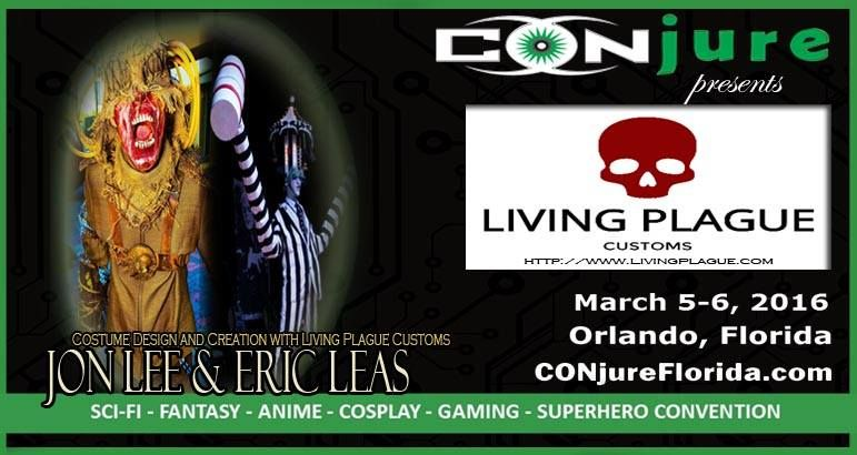 You've seen these incredible artists all over the internet, and now Living Plague Customs join us at CONjure! LPC will be sharing their best tips and secrets with YOU in -  Costuming: From Concept to Completion. Do you have a larger-than-life or obscure character as whom you want to costume, but can't figure out where to begin? Is the internet useless in helping? Join Jon & Eric of Living Plague Customs as they discuss how to design, draft, and build a complete character from the ground up!