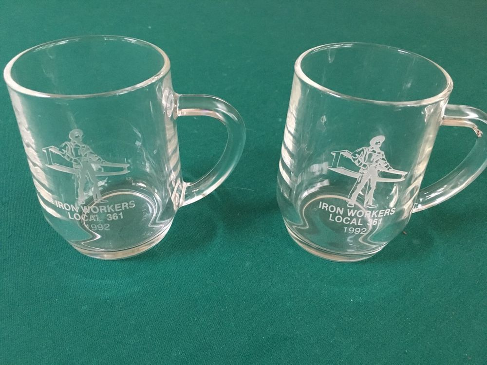 Vintage 1992 Set of Two (2) IRONWORKERS Local 361 (NY) Glass Coffee