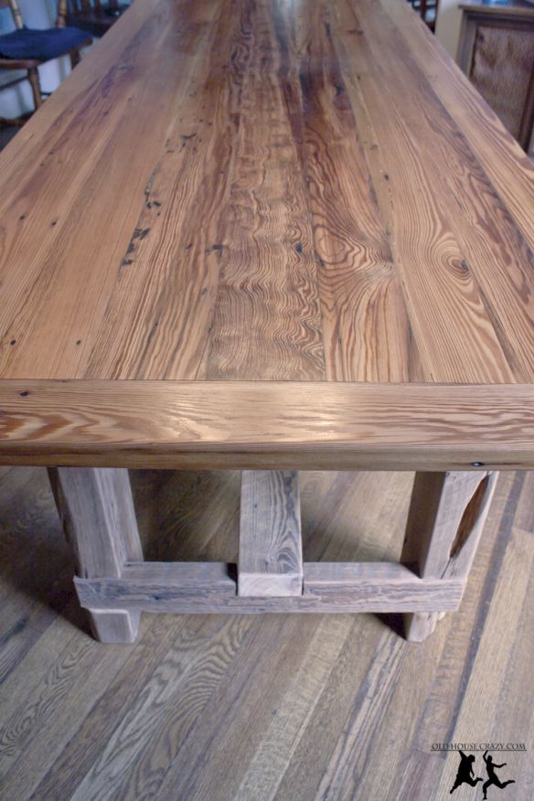 Old House Crazy   Reclaimed Heart Pine Farmhouse Table   DIY   66