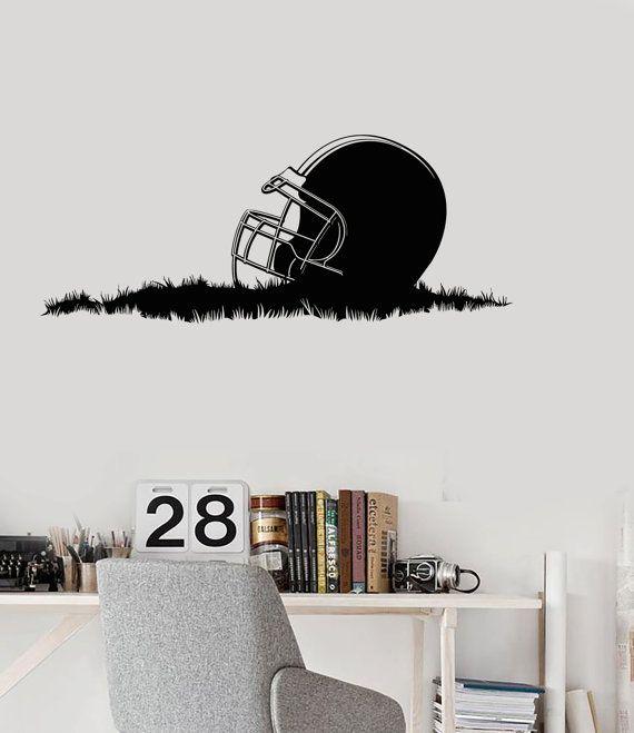 Wall Vinyl Decal American Football Helmet Grass Super By Boldartsy