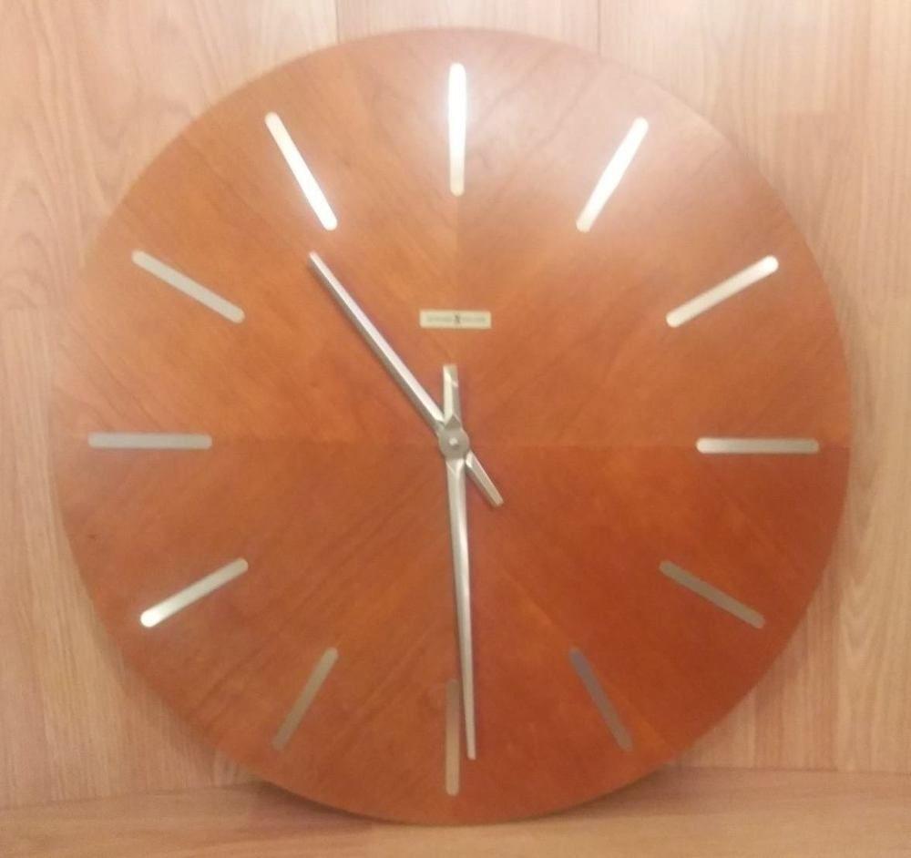 Vintage Mid Century Howard Miller Teak Large Round Wall Clock 620 265 Large Round Wall Clock Round Wall Clocks Mid Century Clock