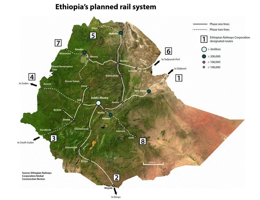 Ethiopia's planned rail system (Global Construction Review