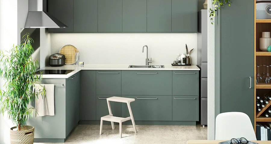 Seria Bodarp Kuchnia Szaro Zielona Modern Kitchen Green Small Modern Kitchens Modern Kitchen Design