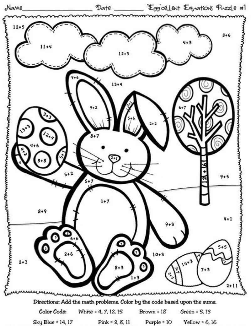 Easter Color By Addition Worksheet Easter Math Easter Kindergarten Easter Worksheets [ 1038 x 800 Pixel ]