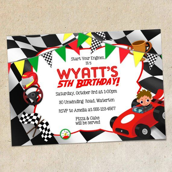 Race Car Party Invitation Template Racing Themed Invite Red