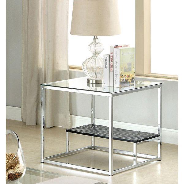 Furniture Of America Deitie Modern Chrome End Table Modern End Tables Furniture Of America End Tables