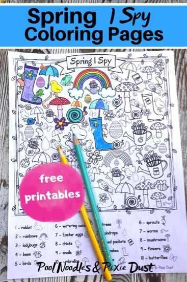 free printable spring i spy coloring pages  spring