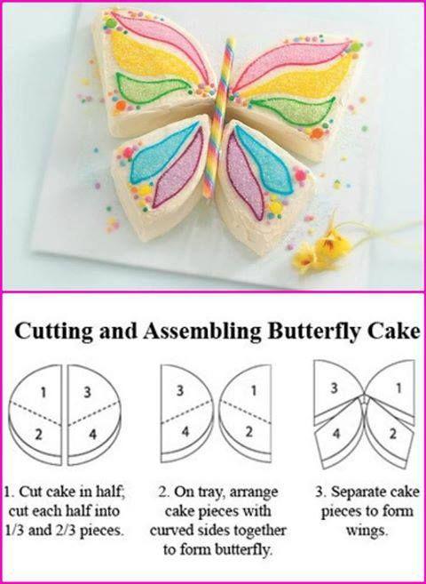 torta con forma de mariposa