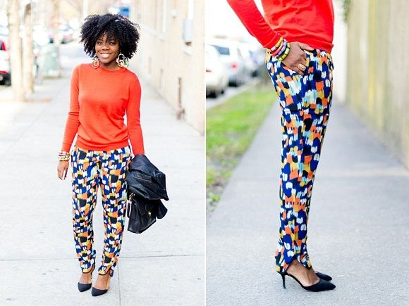 bright knit with patterned pants