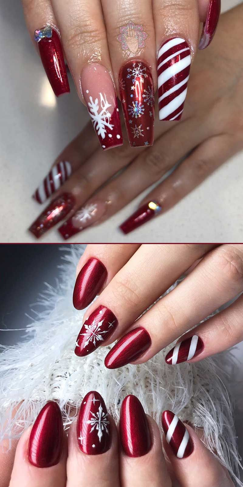 Amazing Dark Red Snowflake Nails Ideas For Christmas Celebration Red Christmas Nails Dark Red Nails Christmas Nails