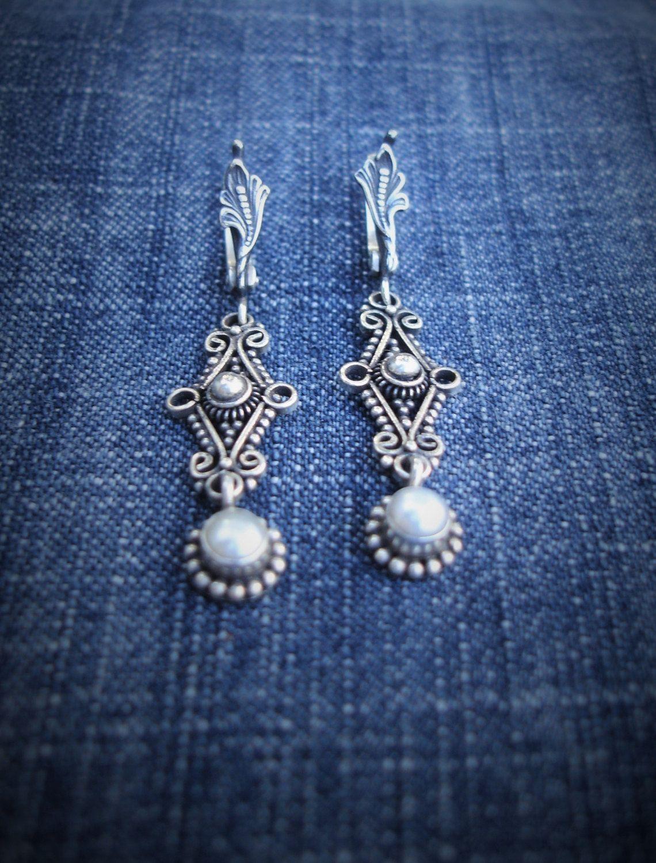 Pearl Earrings-Sterling Silver Jewelry-Boho Chic Jewelry-Chandelier 925…