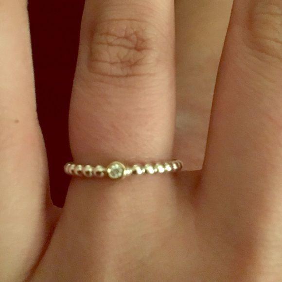 a0107ce68 Pandora Evening Star Ring Sz 7.5 14k gold-diamond Authentic Pandora ring  with 14k gold and diamond accent Pandora Jewelry Rings