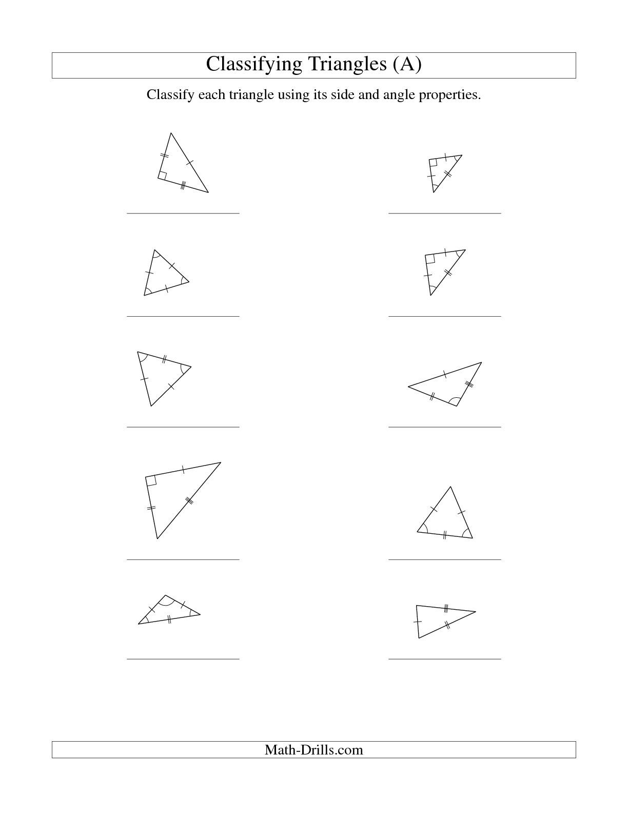 The Classifying Triangles By Angle And Side Properties A Math Worksheet From The Geometry