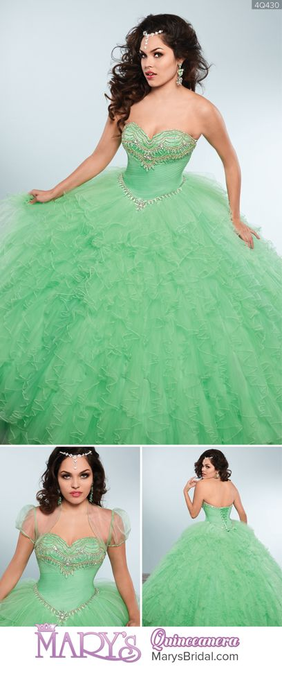Style 4Q430: Strapless tulle quinceanera ball gown with sweetheart neck line, beading detail on a pleated bodice, beaded basque waist line, lace-up back, ruffled skirt, and sheer bolero. From Mary's Quinceanera Fall 2016 Princess Collection #dressesfromthesouthernbelleera
