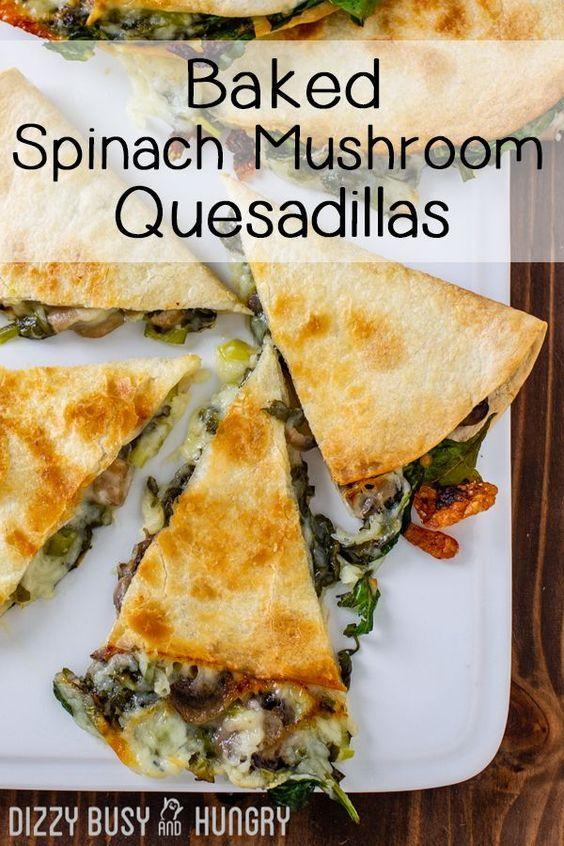 Baked Spinach Mushroom Quesadillas