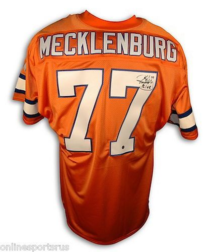 Karl Mecklenburg Autographed Denver Broncos Throwback Jersey Orange Crush b42de5120