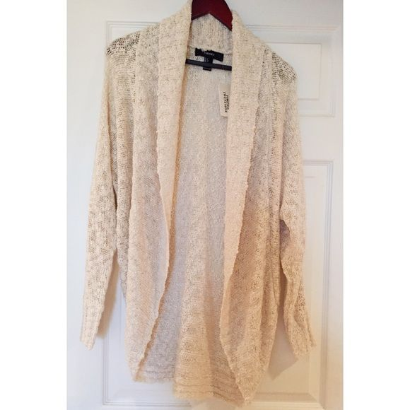 Forever 21: Light beige sweater/cardigan BRAND NEW! Never worn. Hawaii is too darn hot. ☀️ Acrylic material. Soft knitted feel. Wide collar. Loose draped fit. Super cute throw over piece! Forever 21 Jackets & Coats