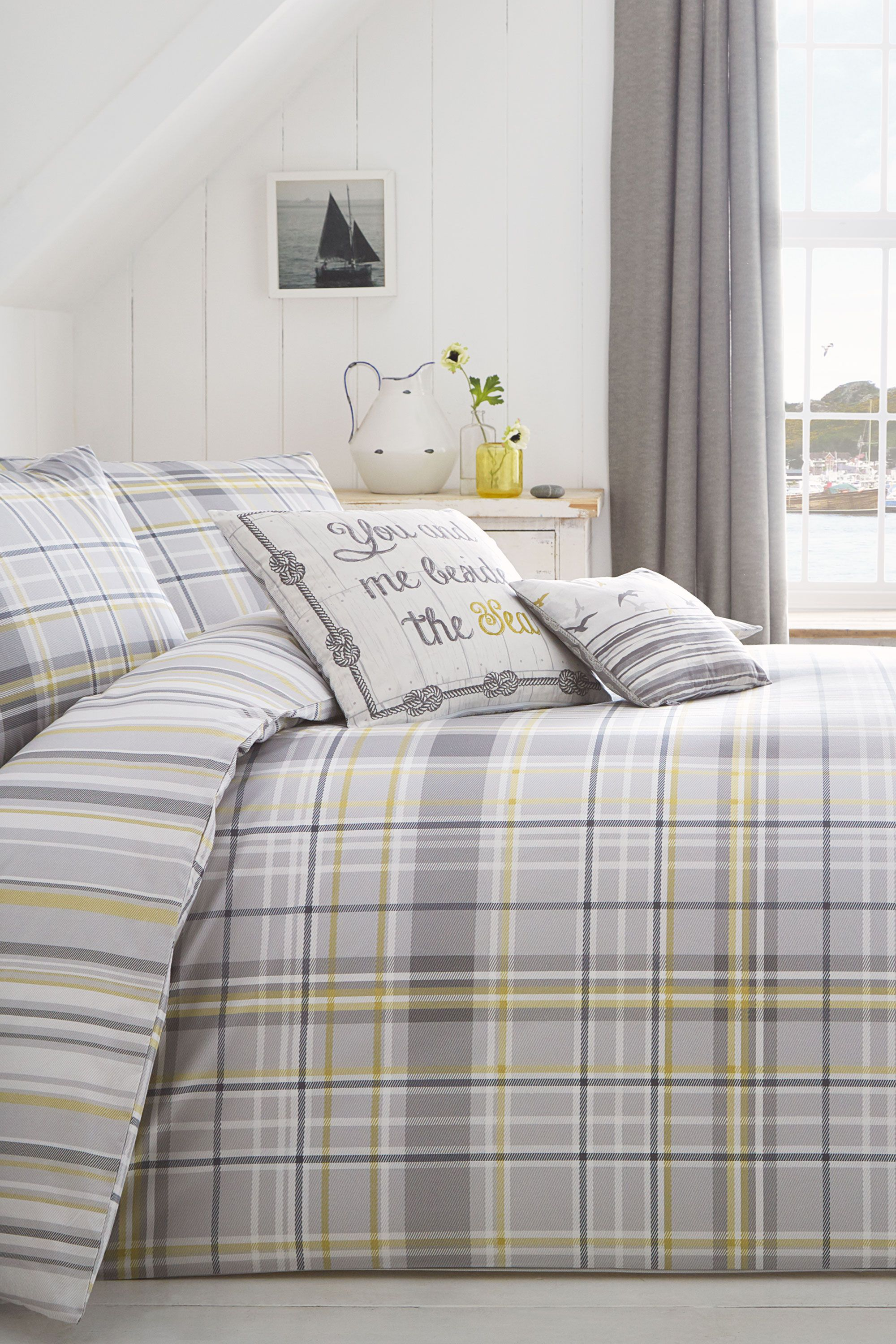 rathmore check bedding set grey double bhs