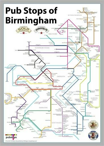 Map Of England Birmingham.Birmingham Pub Crawl Map Inspired By London Underground If I Could