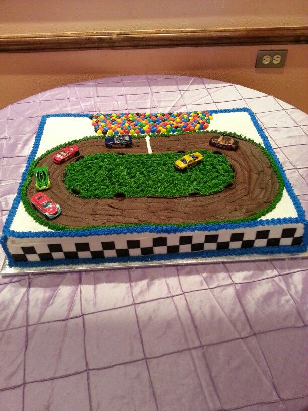 dirt race car birthday cake