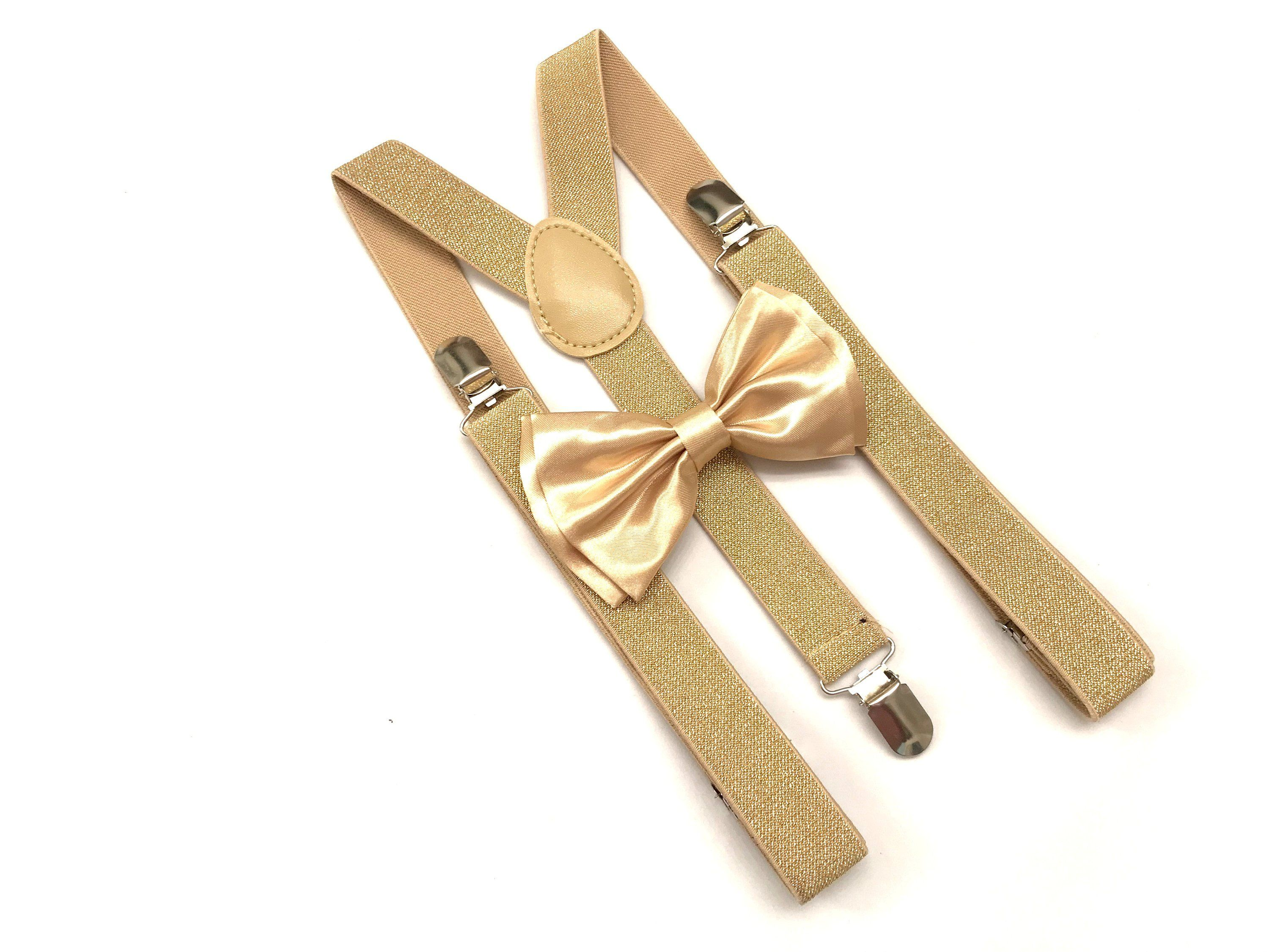 Champaign Gold Suspender and Metallic Bowtie Tuxedo Dress Matching Color /…