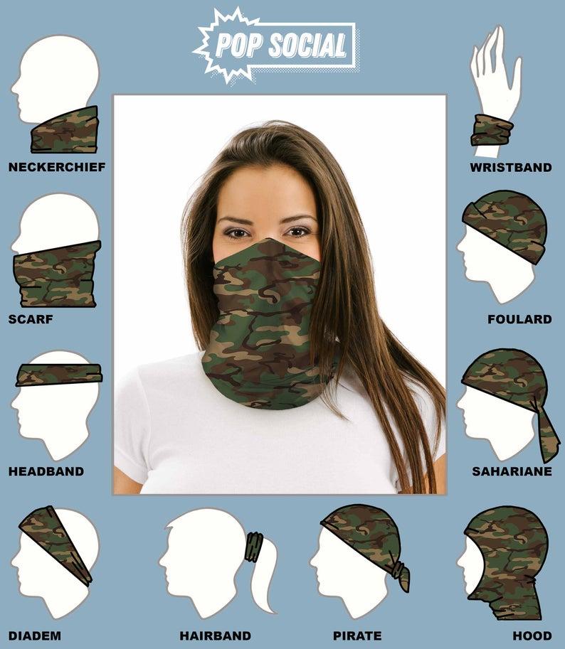 Bandana Head Camo Face Sun Neck Gaiter Snood Tube Scarf Neckerchief Outdoor
