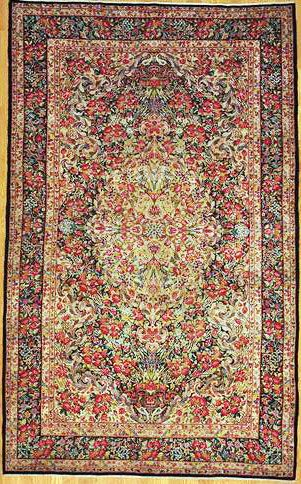 Lavar Kerman Persian Rug Authentic Handmade Antique Years Old