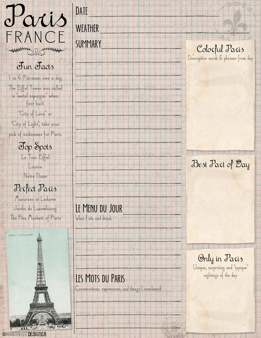 photo regarding Travel Journal Template Printable named Artwork upon the Transfer: Absolutely free Printable Paris Magazine and Sketch Webpage