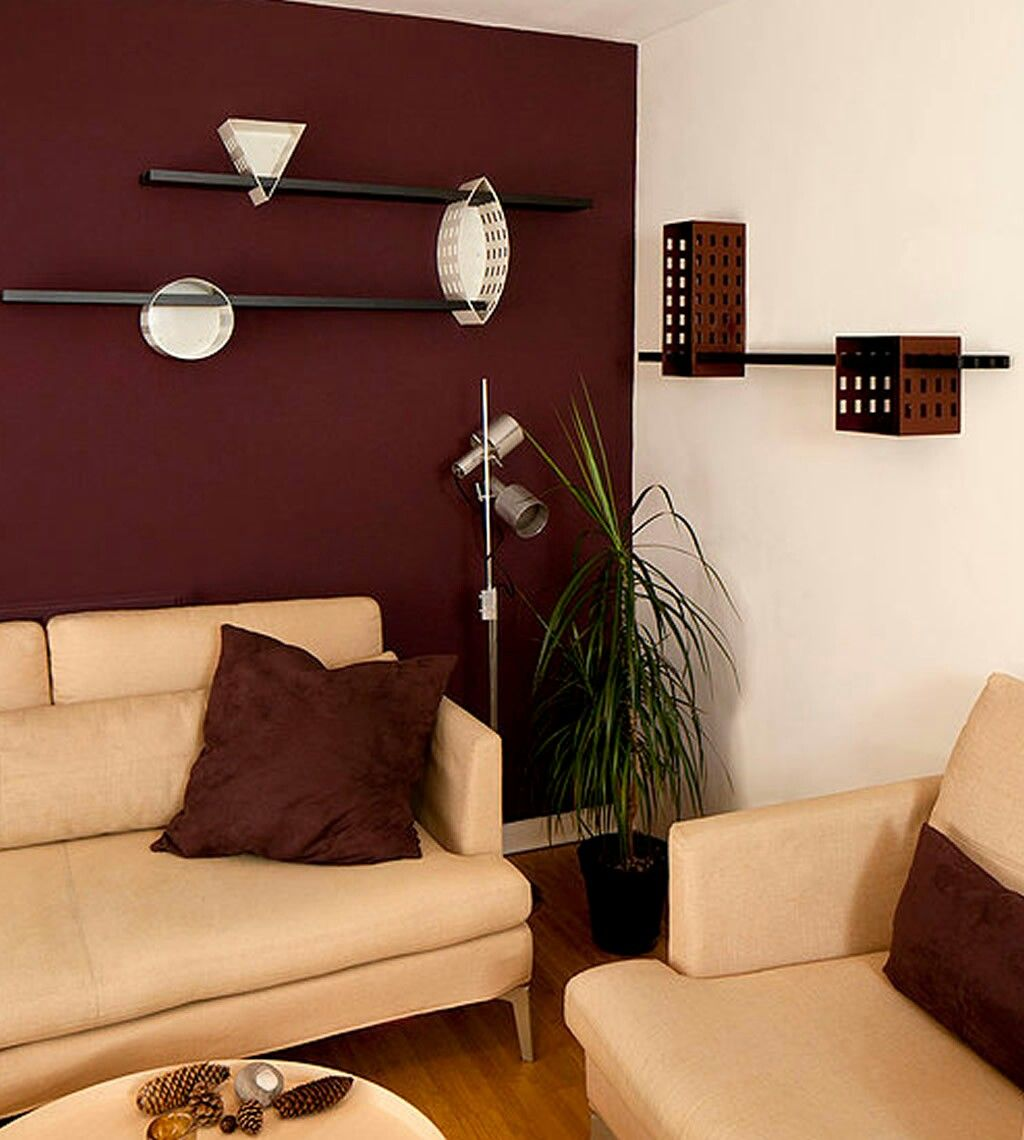 Maroon wall modern living room