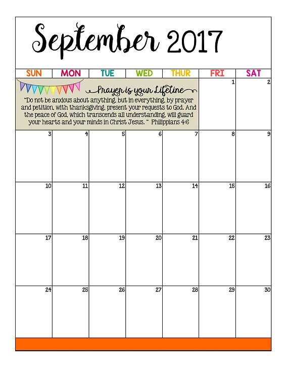 2017-2018 Monthly Calendar PRINTABLE / Bible Promises / Mambi