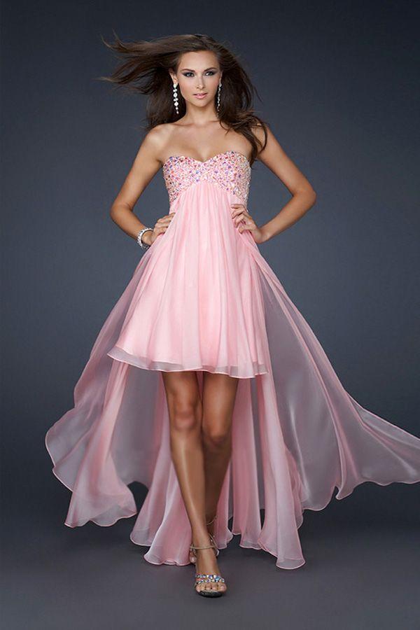 Pinkes kleid vorne kurz hinten lang