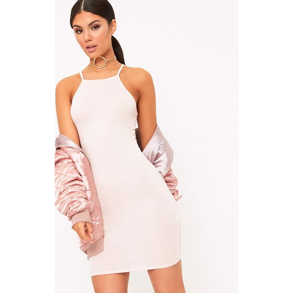 Theia Nude Jersey High Neck Bodycon Dress ($7.75) ❤ liked on ...