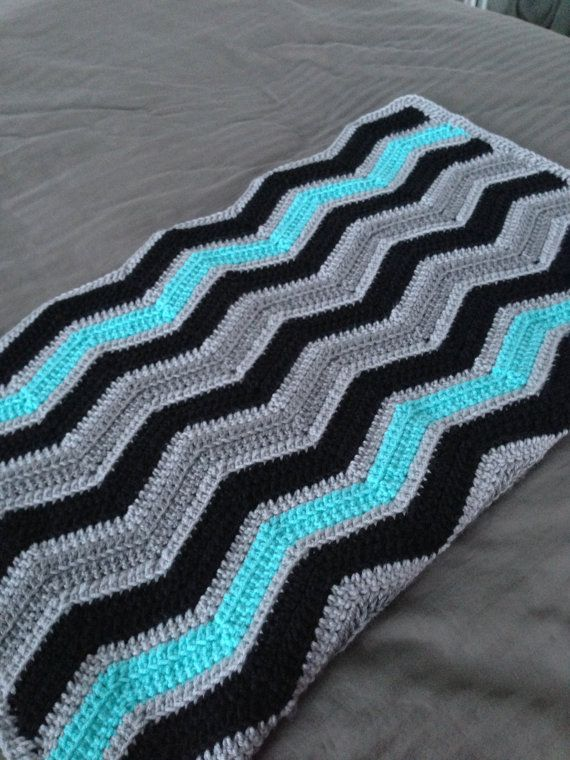 Chevron Crochet Baby Boy Blanket Black Turquoise Grey - MADE TO ...