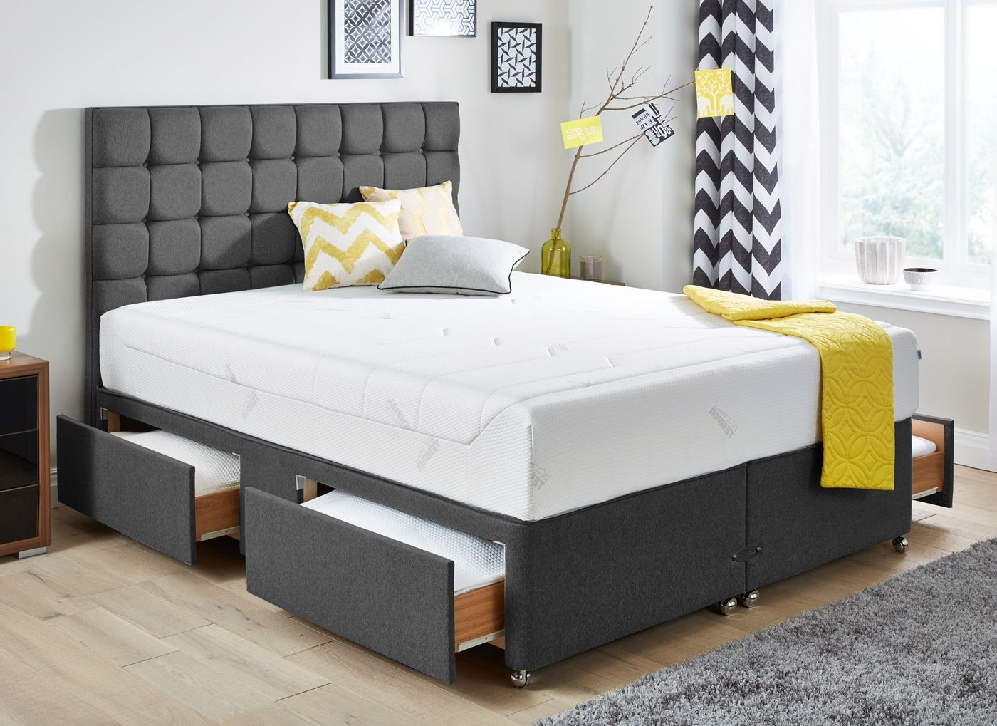King Size Divan Base With End Drawer