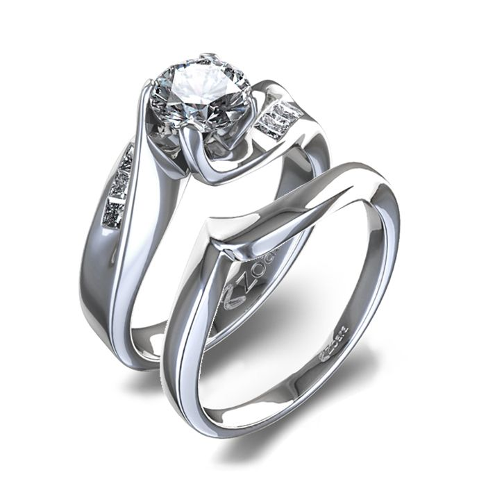Diamond Ring Sets Curved Womens Wedding Set In 14k White Gold