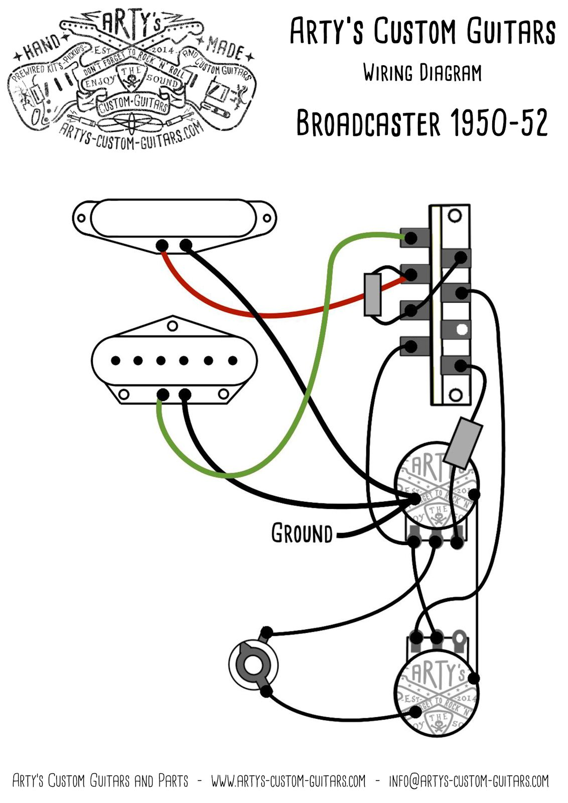 Broadcaster Wiring Diagram Library Vintage Gibson Diagrams Artys Custom Guitars Nocaster 1950 52 Pre Wired Prewired Kit Assembly