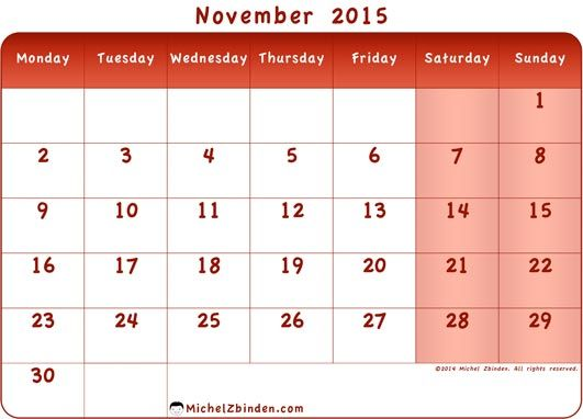 november calendar template 2015
