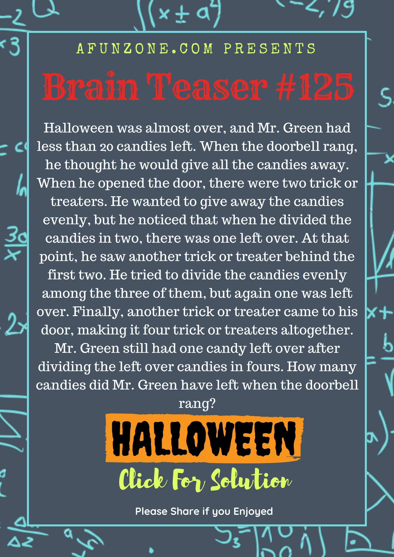 Today S Topic Brainteaser Puzzle Education Halloween