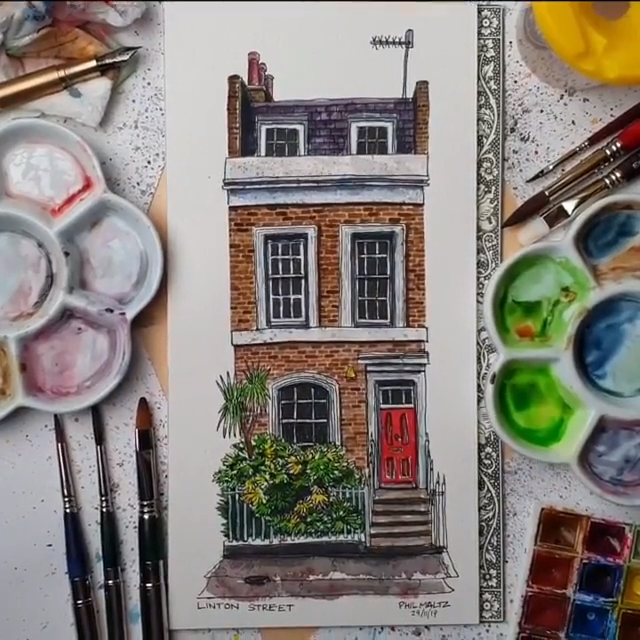 Completed watercolour sketch! Islington house on Linton Street in North London ?⁠
