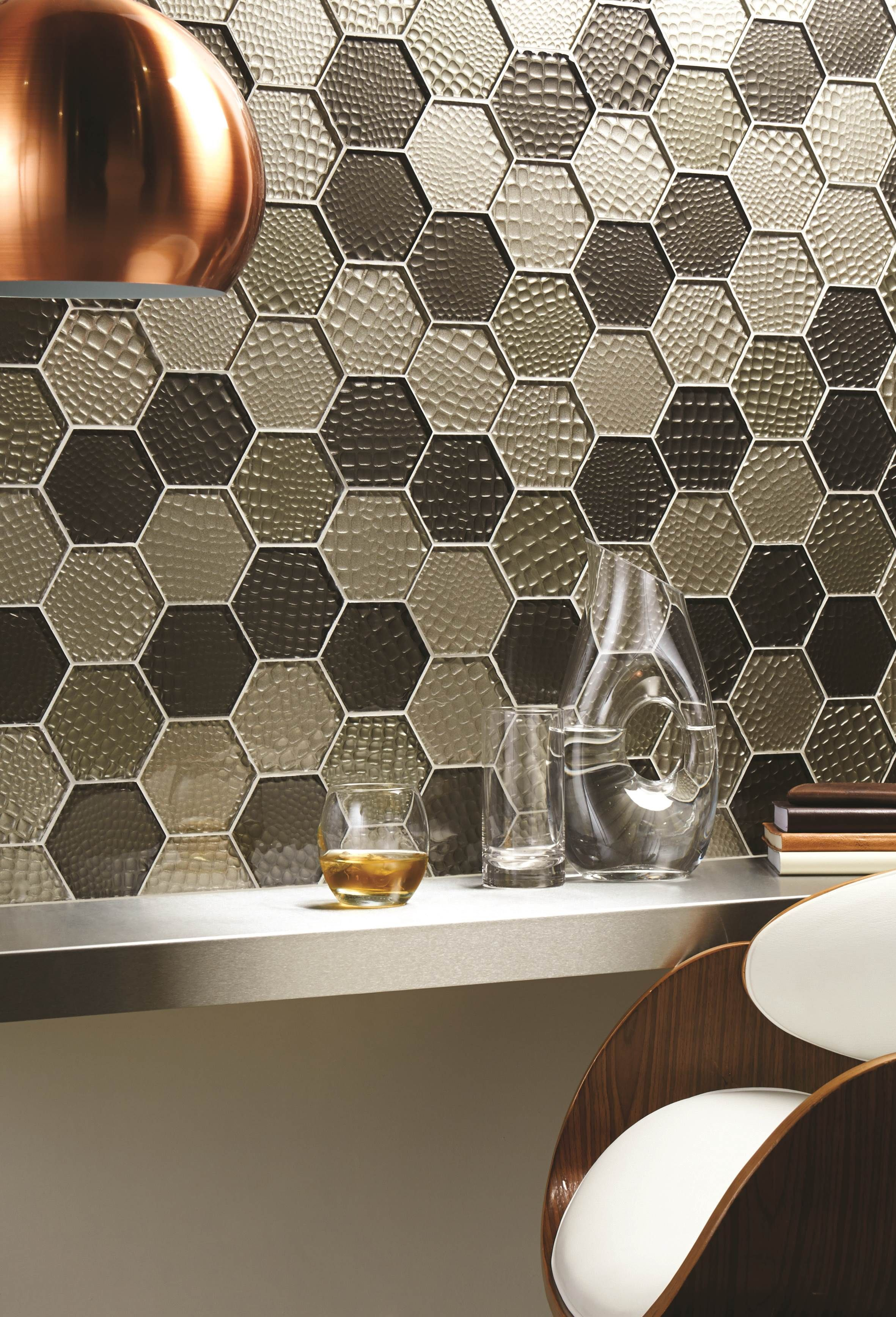 mosaic feature tiles bathroom futura sepia hexagon glass mosaic tiles feature a chic 19657