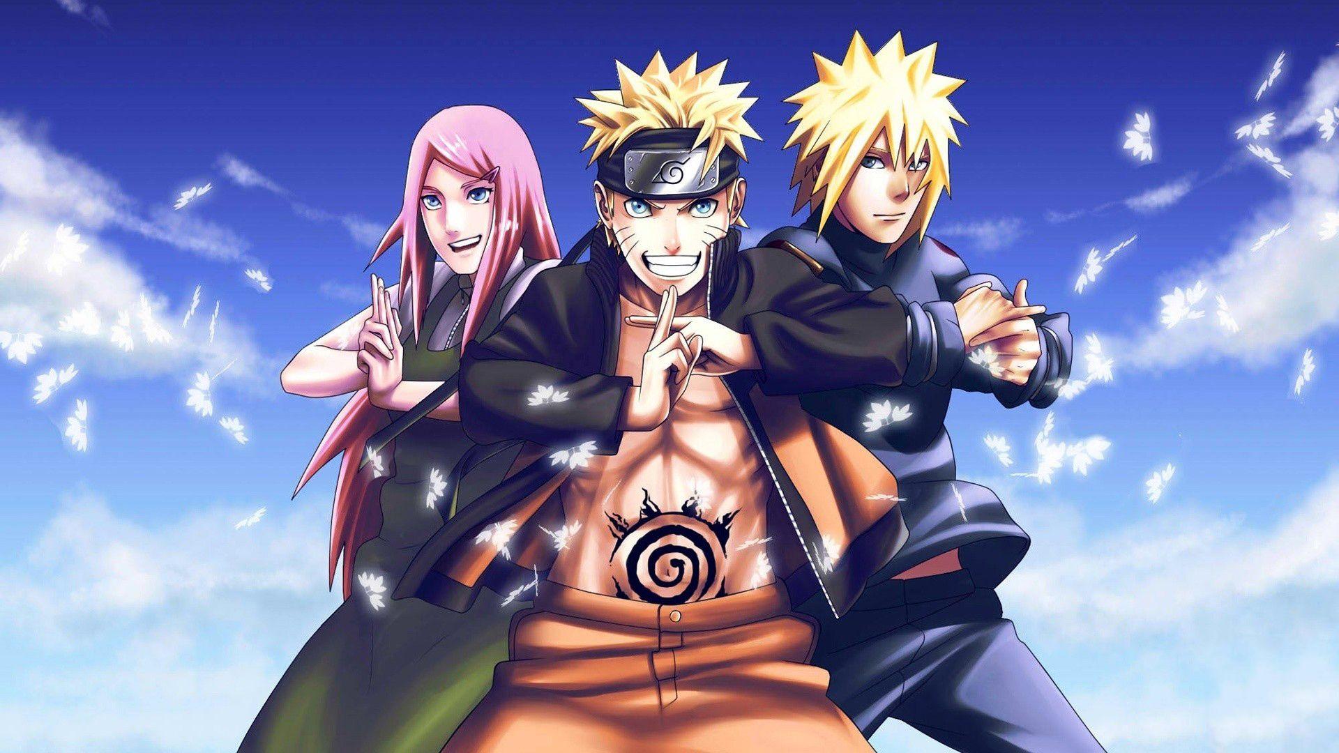 Anime Naruto Naruto Uzumaki Kushina Uzumaki Minato Namikaze