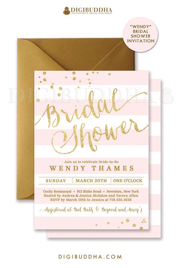 Blush Pink Gold Bridal Shower Invitation Stripes Invite Pink Etsy In 2020 Bridal Shower Invitations Gold Bridal Shower Invitations Gold Bridal Showers
