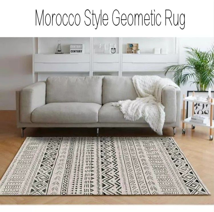 Morocco Style Black And White Geometric Rug Big Size Living Room Coffee Table Carpet Rectangle Pastoral Decoration Mat In Carpet Rug Carpet Homede Karpet
