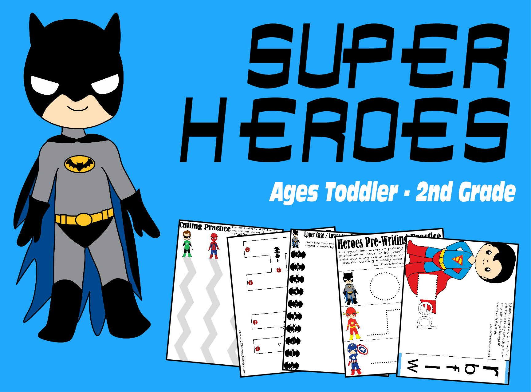 Super Hero Worksheets Toddler Preschool Kindergarten