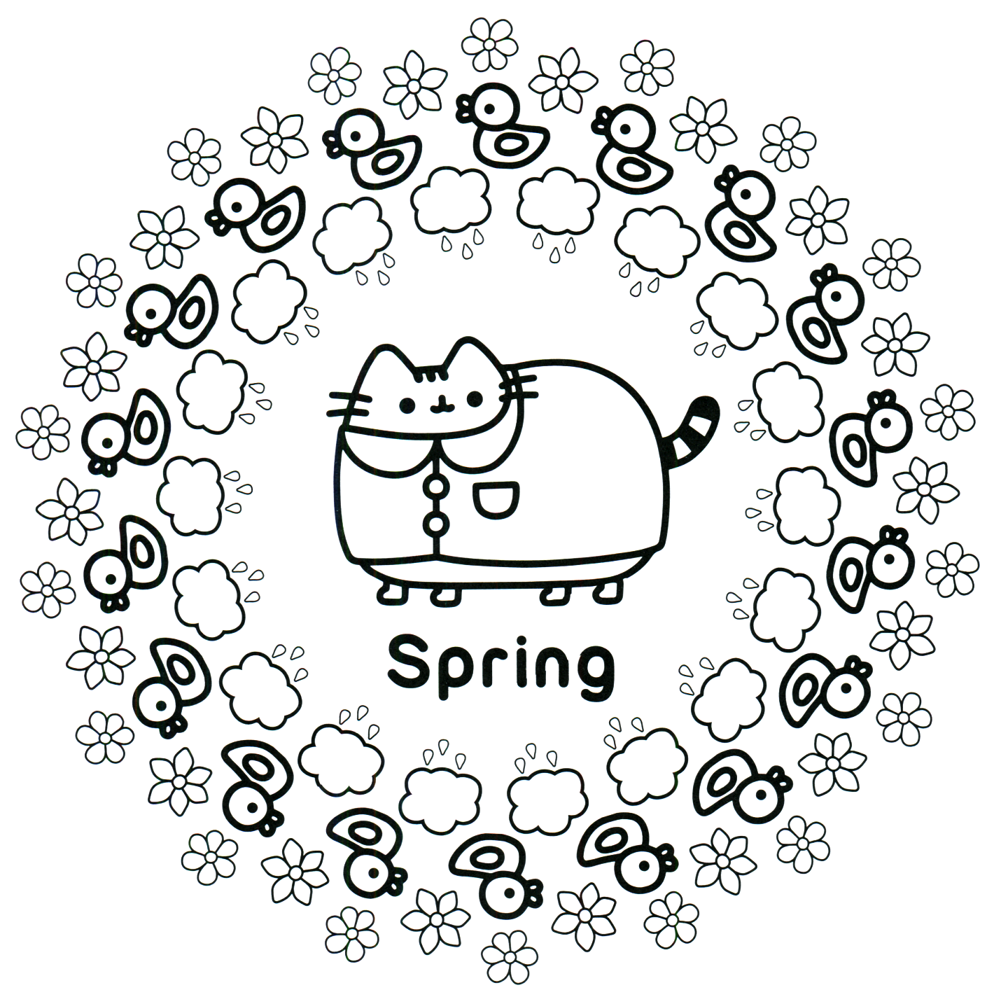 Pusheen Coloring Book Pusheen Pusheen The Cat Pusheen Coloring Pages Spring Coloring Pages Cat Coloring Page