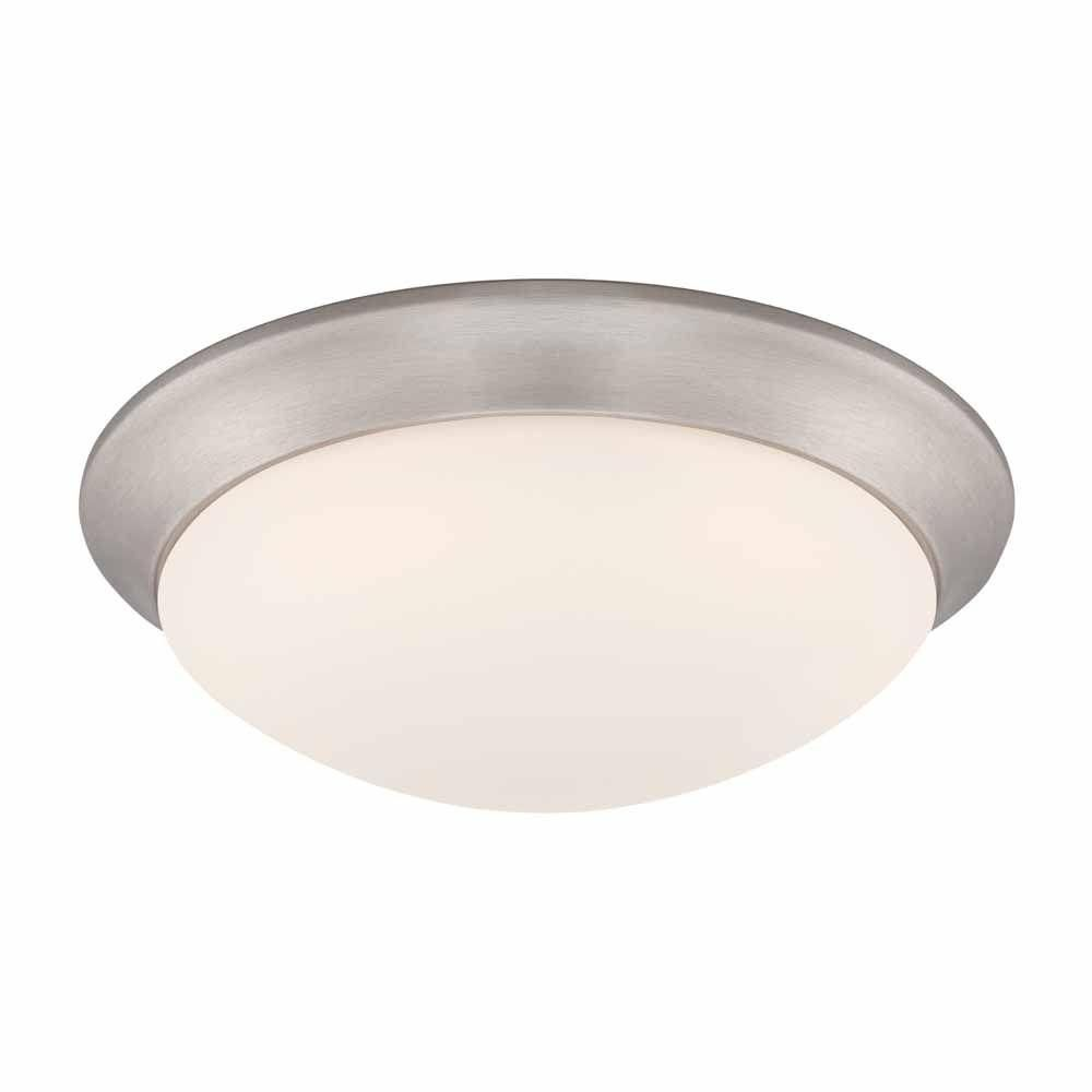 Commercial electric brushed nickel led flushmount with frosted white commercial electric brushed nickel led flushmount with frosted white glass hb1022 35 the home depot aloadofball Images