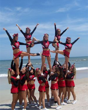 All star cheerleading stunts and pyramids
