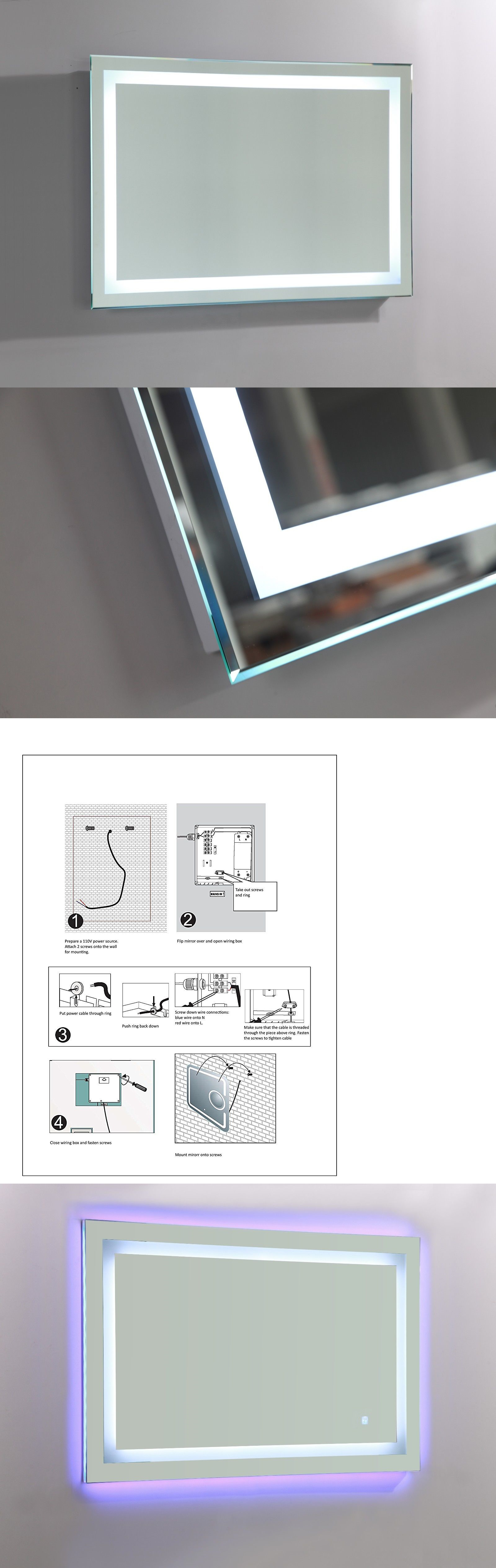 Mirrors Led Lighted Vanity Bathroom Mirror With Touch Sensor