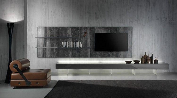 Wohnwand - Acryl Elemente, Wandplatte in Steinoptik und Low Board in ...